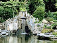 ogród japoński z kaskadą z łupka